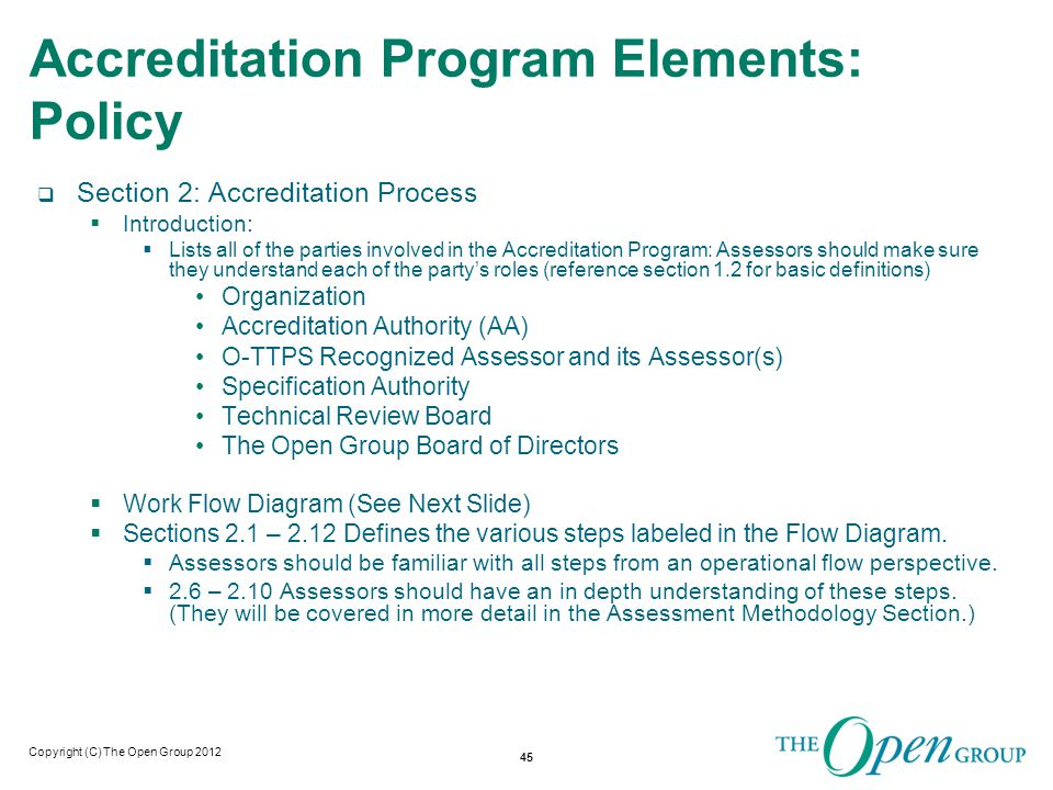 Copyright (C) The Open Group 2011 Accreditation Program Operational Flow Chart