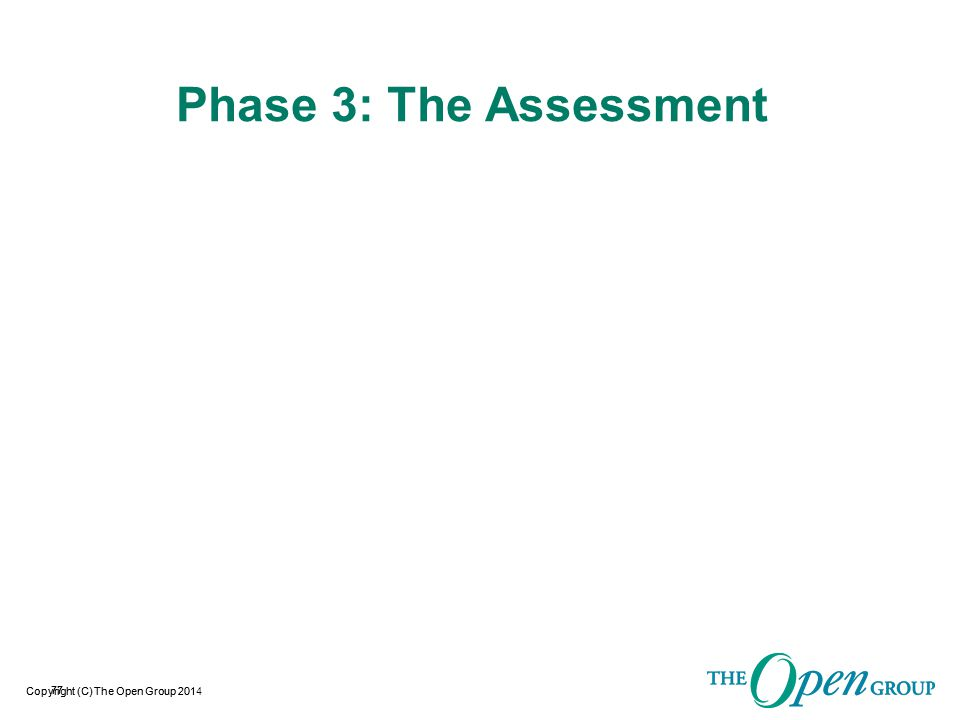 Copyright (C) The Open Group 2014 Assessment Assessment Procedures  Some of the Basics:  This document defines the procedures that must be followed by an Assessor when conducting an O- TTPS Accreditation Assessment.
