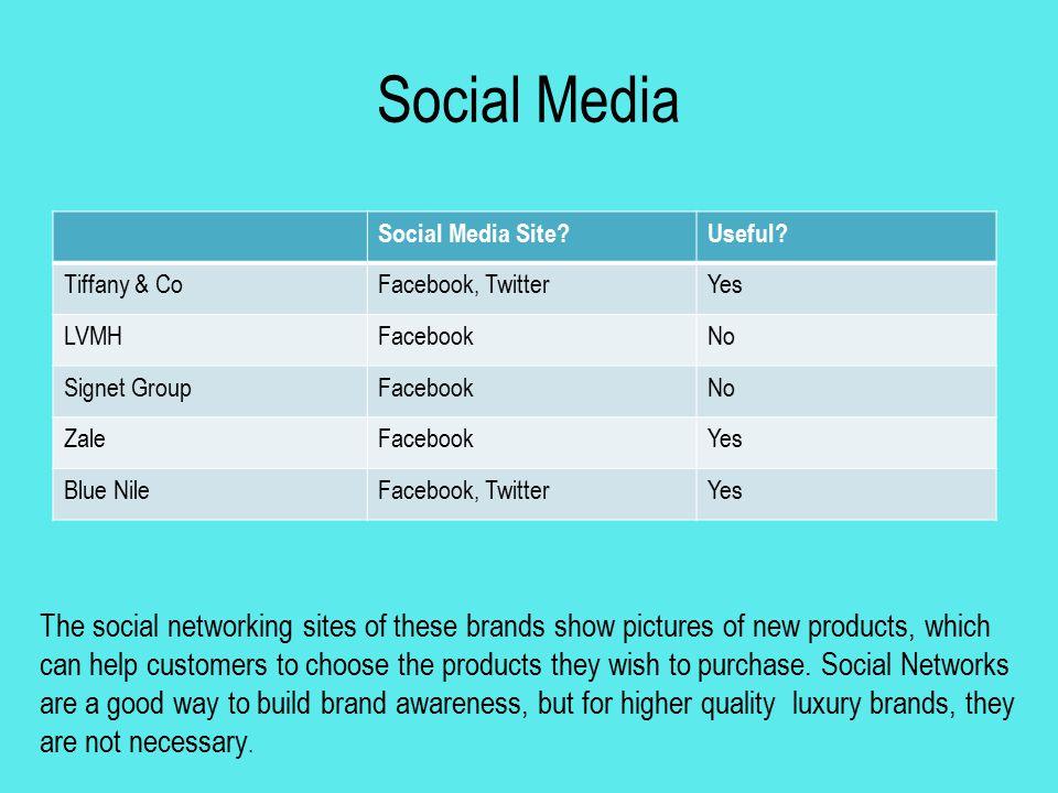 Social Media Social Media Site?Useful? Tiffany & CoFacebook, TwitterYes LVMHFacebookNo Signet GroupFacebookNo ZaleFacebookYes Blue NileFacebook, Twitt