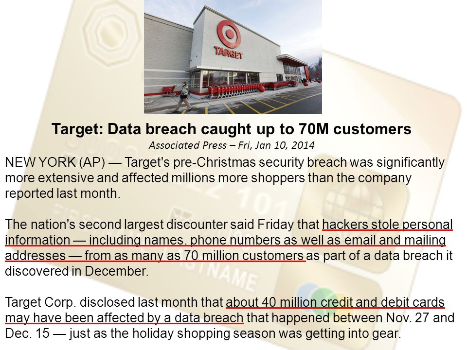 NEW YORK (AP) — Target s pre-Christmas security breach was significantly more extensive and affected millions more shoppers than the company reported last month.