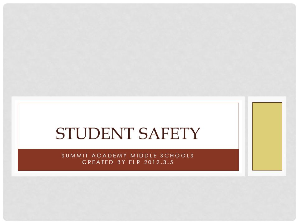 SUMMIT ACADEMY MIDDLE SCHOOLS CREATED BY ELR 2012.3.5 STUDENT SAFETY