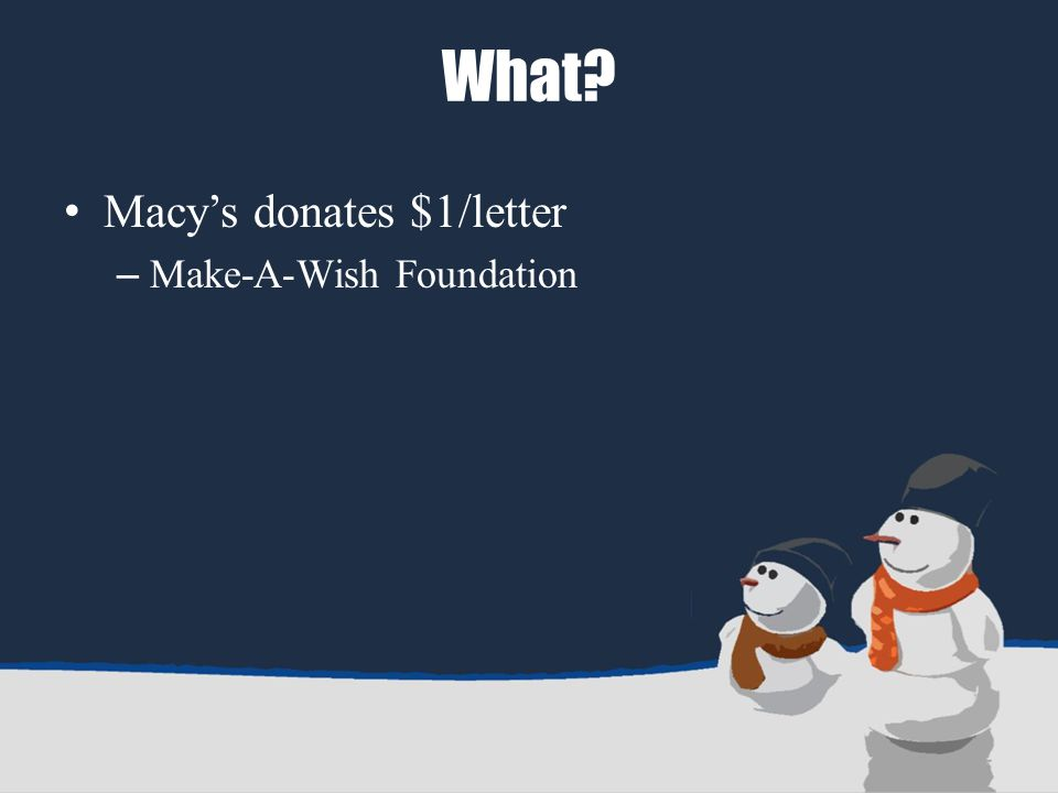 What Macy's donates $1/letter – Make-A-Wish Foundation