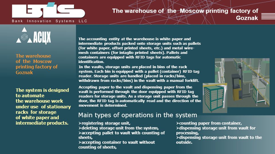 The warehouse of the Moscow printing factory of Goznak The system is designed to automate the warehouse work under use of stationary racks for storage of white paper and intermediate products.