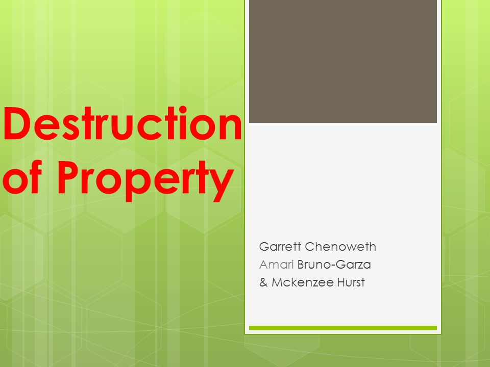 Destruction of Property Garrett Chenoweth Amari Bruno-Garza & Mckenzee Hurst