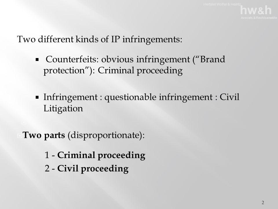 Hertslet Wolfer & Heintz hw & h Avocats & Rechtsanwälte Two different kinds of IP infringements:  Counterfeits: obvious infringement ( Brand protection ): Criminal proceeding  Infringement : questionable infringement : Civil Litigation   Two parts (disproportionate): 1 - Criminal proceeding 2 - Civil proceeding 2