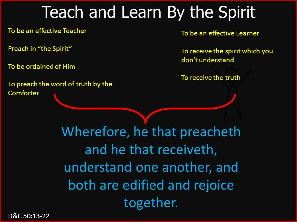 "To be an effective Teacher Preach in ""the Spirit"" To be ordained of Him To preach the word of truth by the Comforter To be an effective Learner To rec"