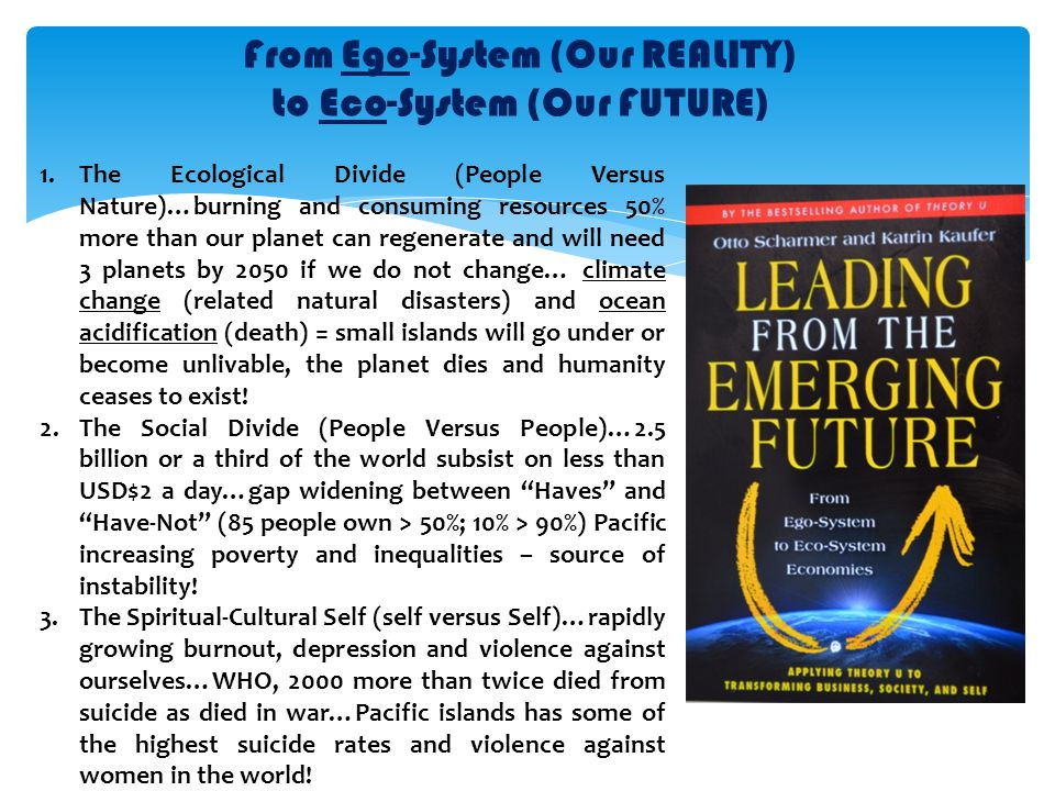 From Ego-System (Our REALITY) to Eco-System (Our FUTURE) 1.The Ecological Divide (People Versus Nature)…burning and consuming resources 50% more than our planet can regenerate and will need 3 planets by 2050 if we do not change… climate change (related natural disasters) and ocean acidification (death) = small islands will go under or become unlivable, the planet dies and humanity ceases to exist.