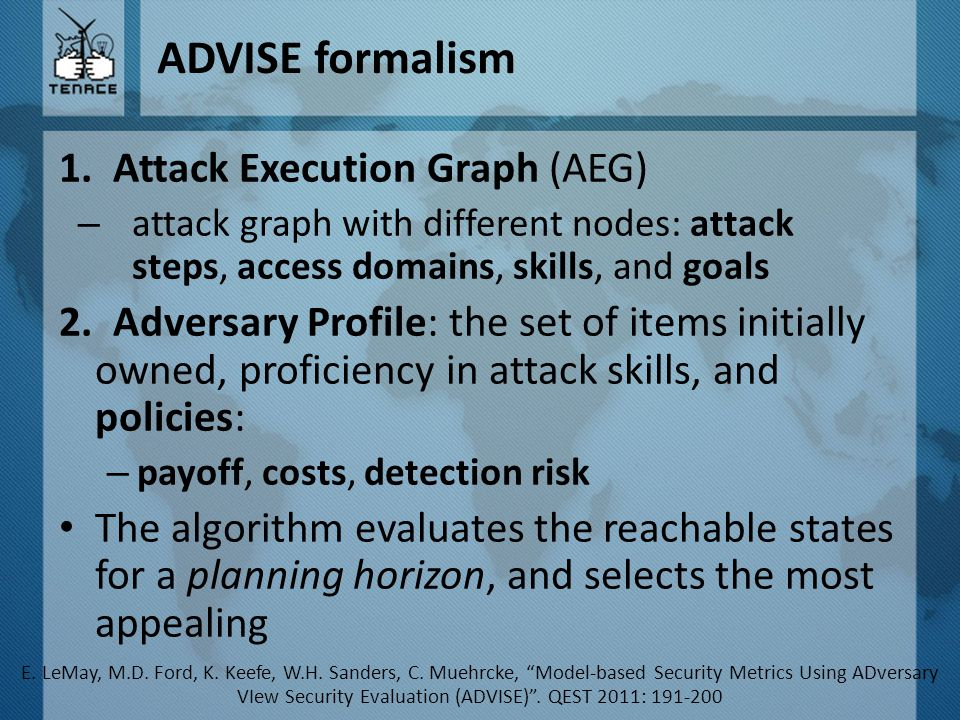 ADVISE formalism 1.Attack Execution Graph (AEG) – attack graph with different nodes: attack steps, access domains, skills, and goals 2.