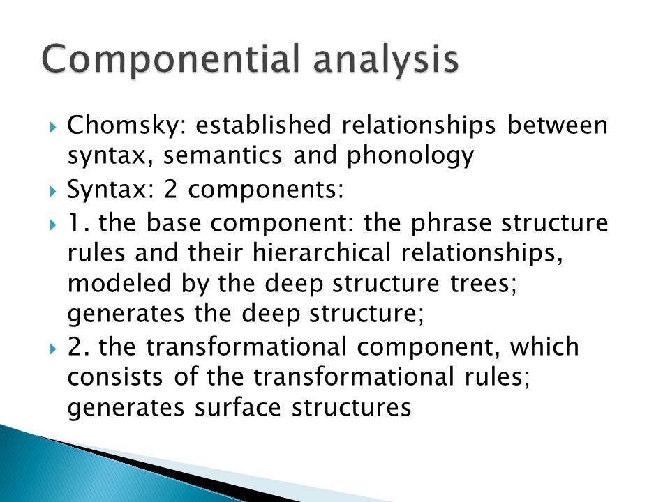  Chomsky: established relationships between syntax, semantics and phonology  Syntax: 2 components:  1. the base component: the phrase structure rul