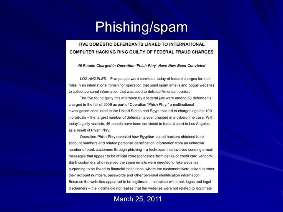 Phishing/spam March 25, 2011