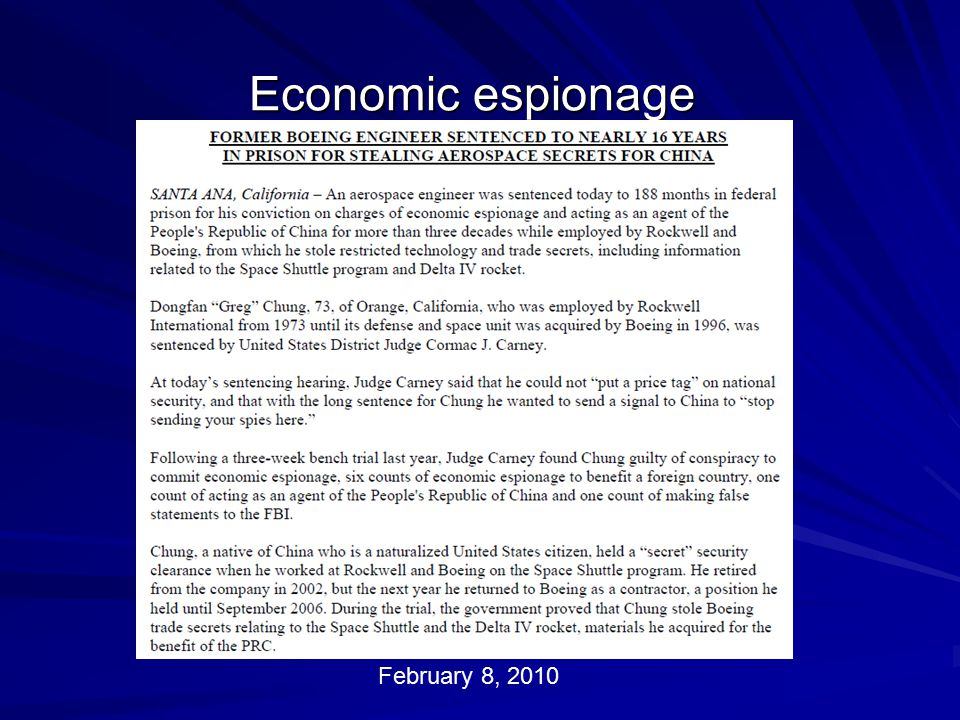 Economic espionage February 8, 2010