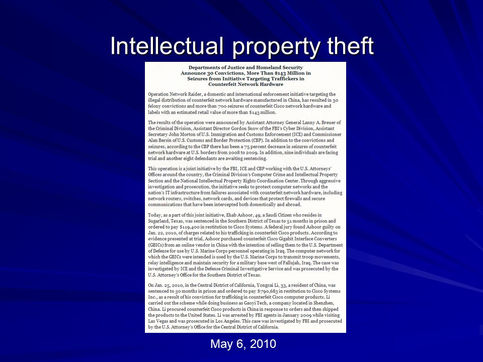 Intellectual property theft May 6, 2010