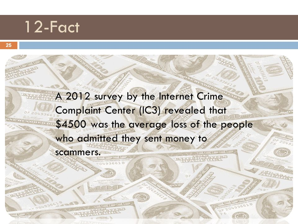 12-Fact 25 A 2012 survey by the Internet Crime Complaint Center (IC3) revealed that $4500 was the average loss of the people who admitted they sent money to scammers.