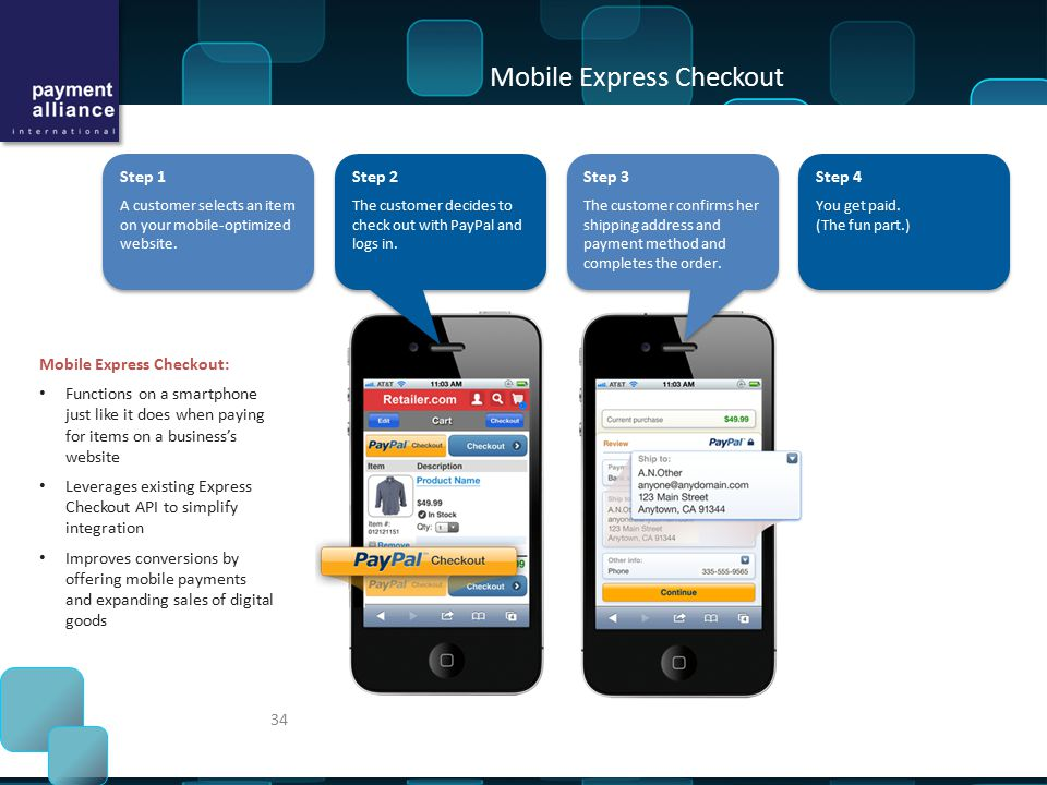 Step 1 A customer selects an item on your mobile-optimized website.