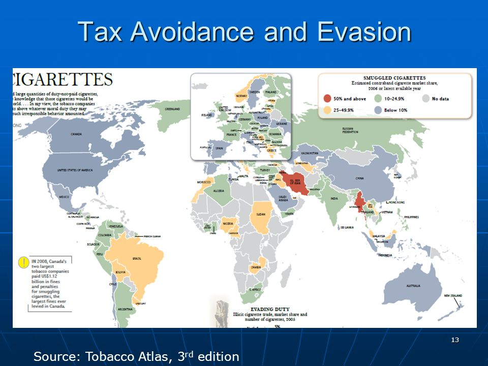 13 Tax Avoidance and Evasion Source: Tobacco Atlas, 3 rd edition
