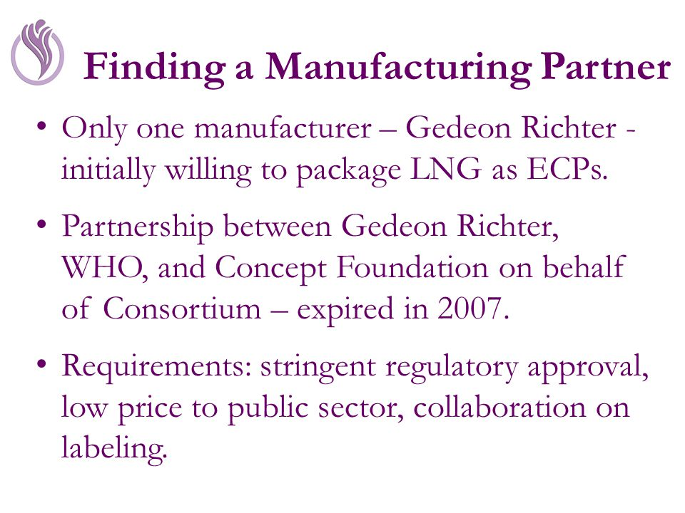 Finding a Manufacturing Partner Only one manufacturer – Gedeon Richter - initially willing to package LNG as ECPs.