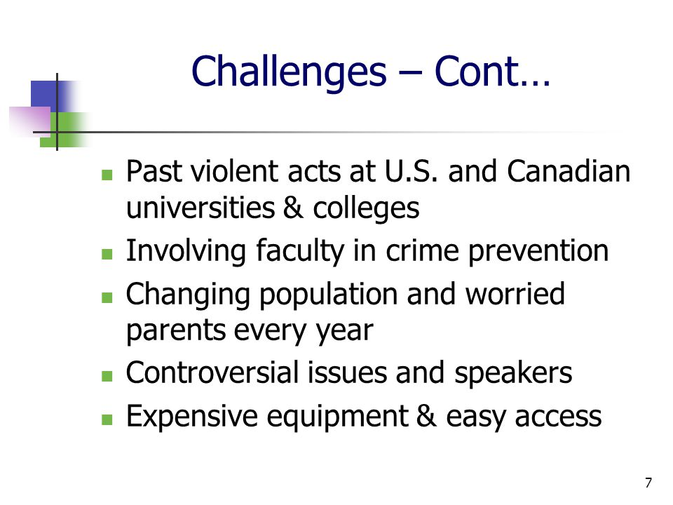 Challenges – Cont… Past violent acts at U.S.