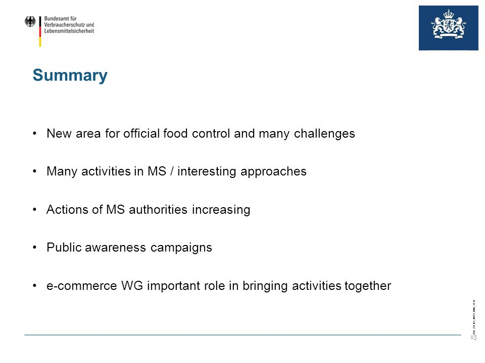 BVL_FO_04_0022_000_V1.0 13 Summary New area for official food control and many challenges Many activities in MS / interesting approaches Actions of MS authorities increasing Public awareness campaigns e-commerce WG important role in bringing activities together