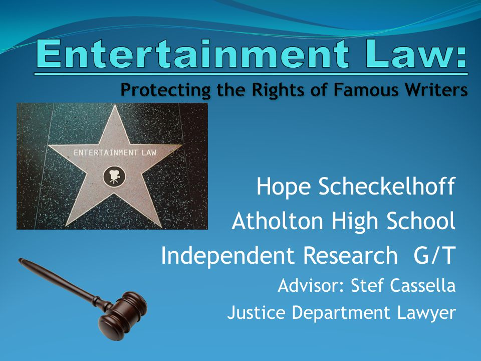 Hope Scheckelhoff Atholton High School Independent Research G/T Advisor: Stef Cassella Justice Department Lawyer