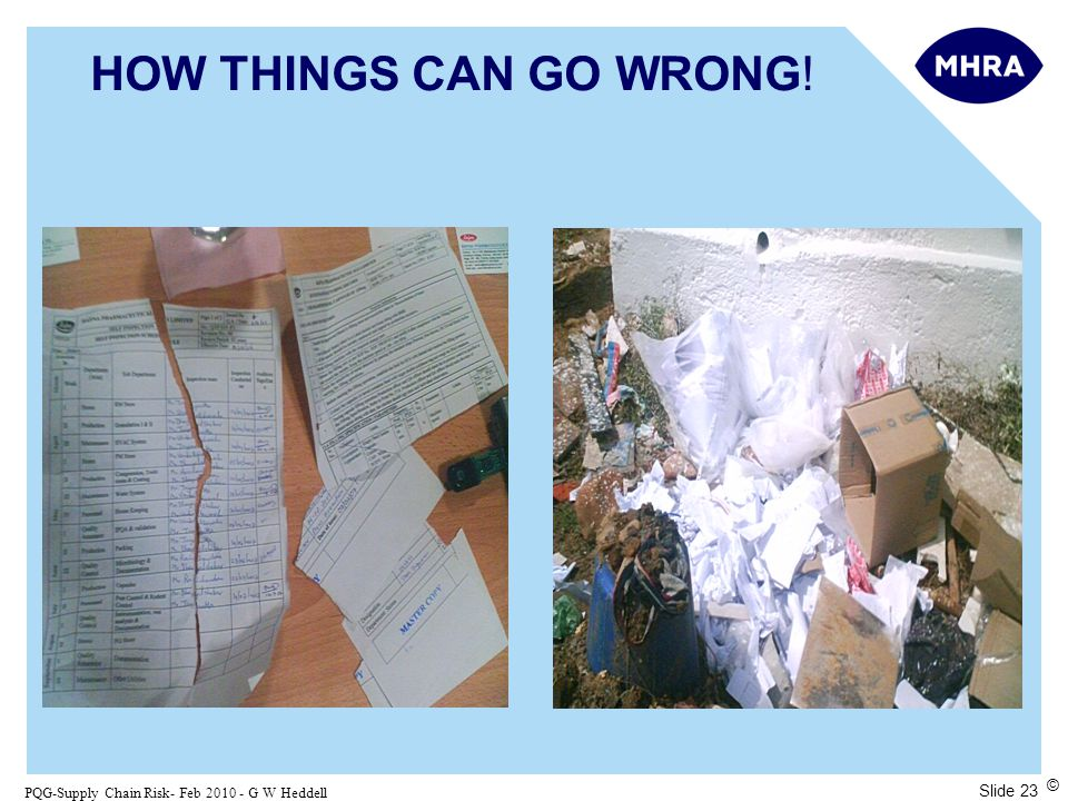 Slide 23 PQG-Supply Chain Risk- Feb 2010 - G W Heddell © HOW THINGS CAN GO WRONG!