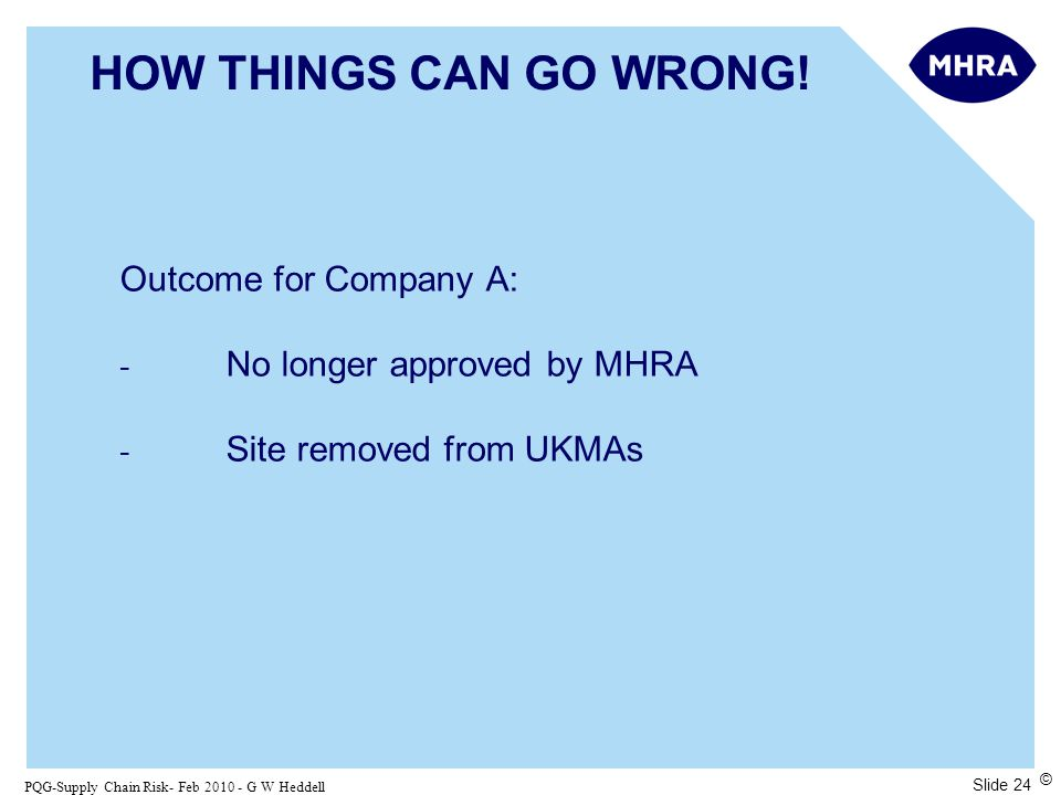 Slide 24 PQG-Supply Chain Risk- Feb 2010 - G W Heddell © HOW THINGS CAN GO WRONG.