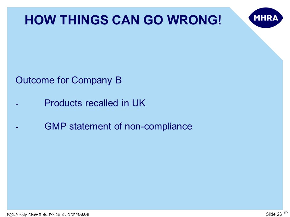 Slide 26 PQG-Supply Chain Risk- Feb 2010 - G W Heddell © HOW THINGS CAN GO WRONG.
