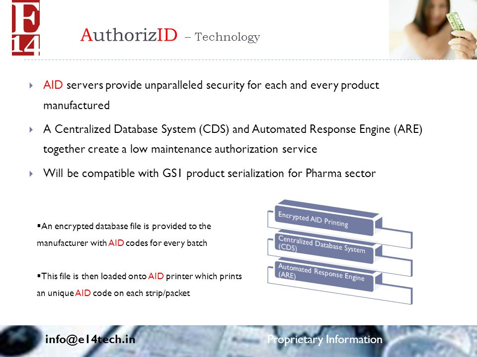 AuthorizID – Technology  AID servers provide unparalleled security for each and every product manufactured  A Centralized Database System (CDS) and