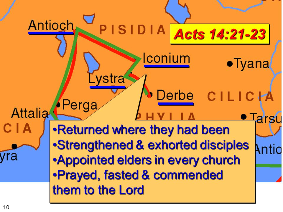 Returned where they had beenReturned where they had been Strengthened & exhorted disciplesStrengthened & exhorted disciples Appointed elders in every churchAppointed elders in every church Prayed, fasted & commended them to the LordPrayed, fasted & commended them to the Lord Returned where they had beenReturned where they had been Strengthened & exhorted disciplesStrengthened & exhorted disciples Appointed elders in every churchAppointed elders in every church Prayed, fasted & commended them to the LordPrayed, fasted & commended them to the Lord Acts 14:21-23 10