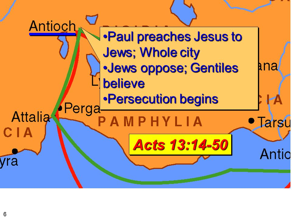Paul preaches Jesus to Jews; Whole cityPaul preaches Jesus to Jews; Whole city Jews oppose; Gentiles believeJews oppose; Gentiles believe Persecution