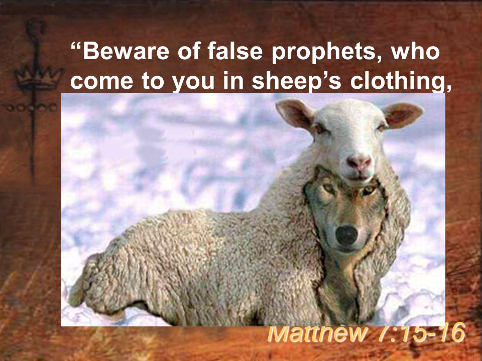 Beware of false prophets, who come to you in sheep's clothing, but inwardly they are ravenous wolves.