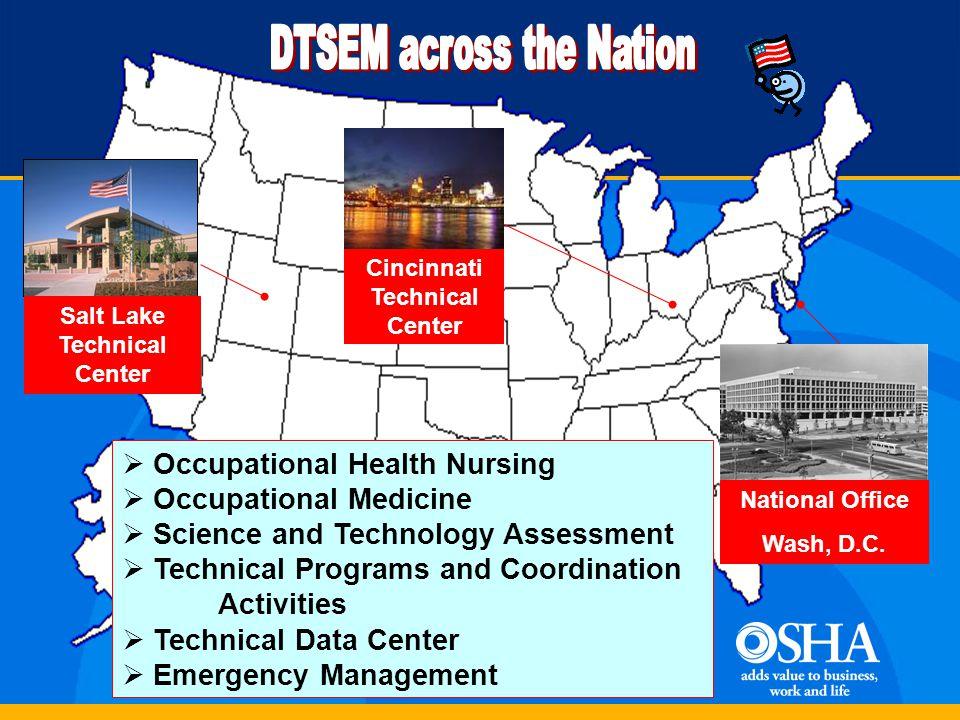 Salt Lake Technical Center National Office Wash, D.C. Cincinnati Technical Center  Occupational Health Nursing  Occupational Medicine  Science and