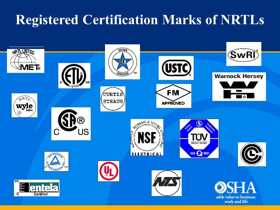 Registered Certification Marks of NRTLs