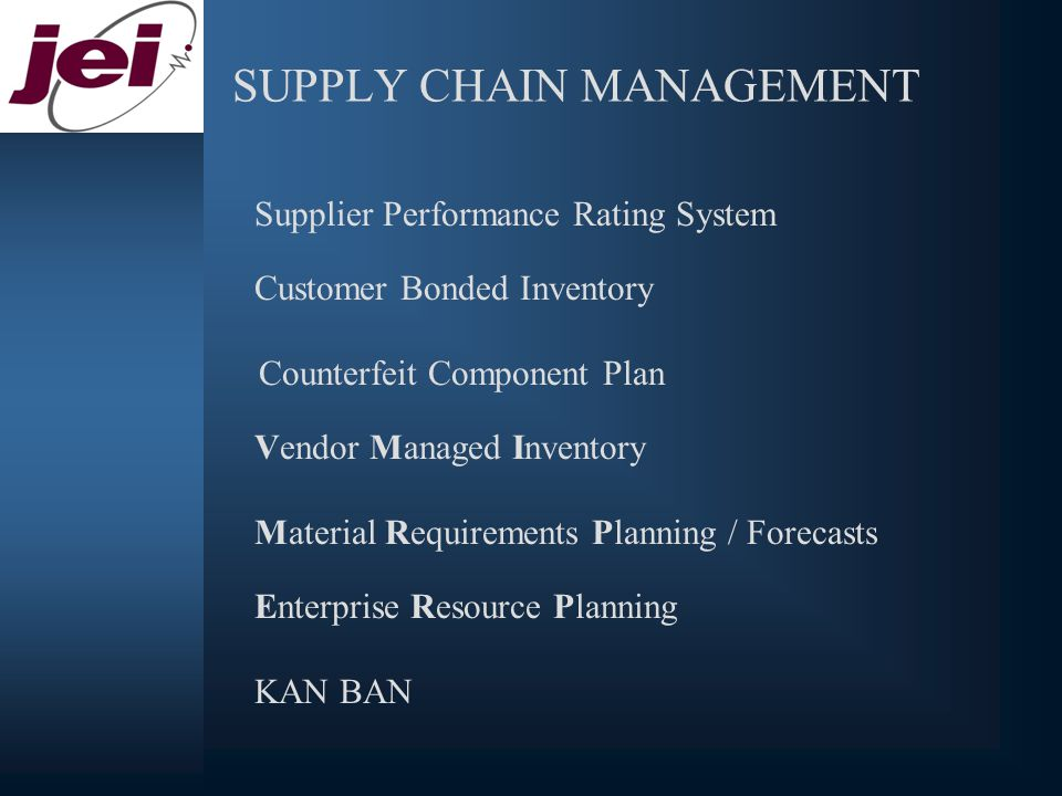 SUPPLY CHAIN MANAGEMENT Supplier Performance Rating System Customer Bonded Inventory Counterfeit Component Plan Vendor Managed Inventory Material Requirements Planning / Forecasts Enterprise Resource Planning KAN BAN