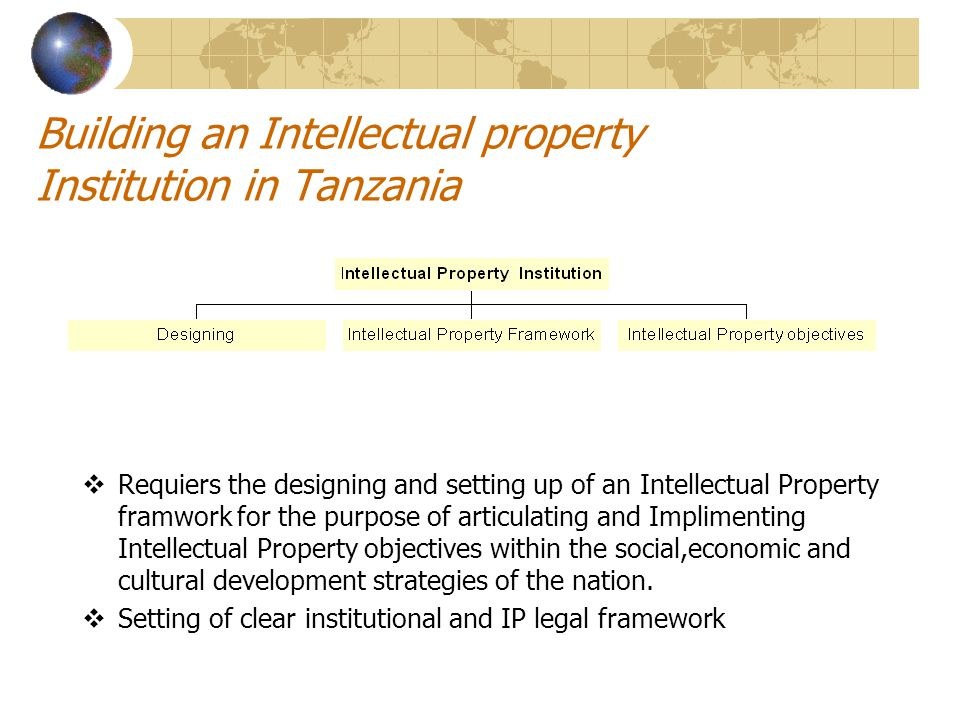 Some of the institution dealing with IP in Tanzania  Industrial Property which consists of Patents of inventions, Trade and Service Marks, Industrial designs, Geographical indications of origin, undisclosed information (Trade Secrets) and Integrated circuits topography under the mandate of BRELA  Copyrights which consist of Literary and Artistic works, performances and Audiovisual works under the mandate of COSOTA  Plant breeders rights and seeds are under the mandate of Ministry responsible for Agriculture.
