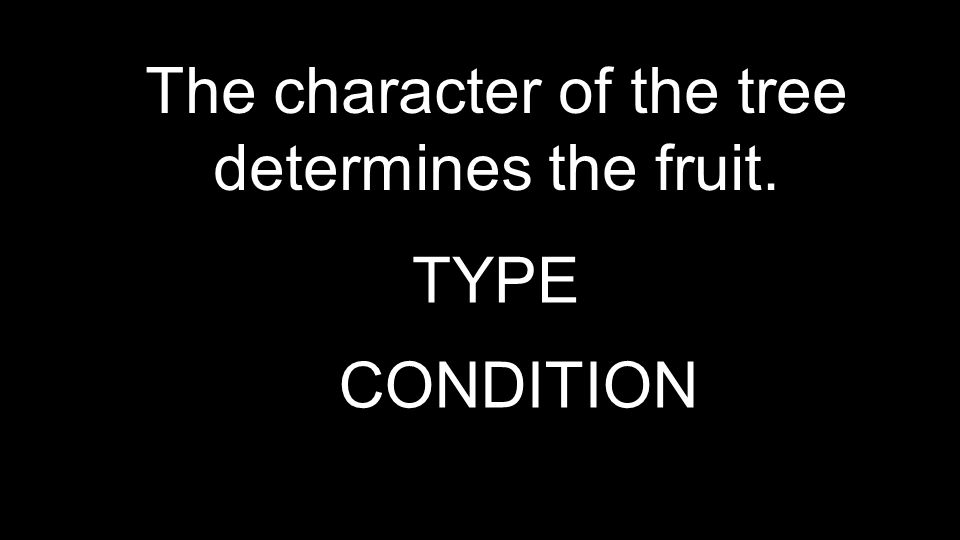 The character of the tree determines the fruit. TYPE CONDITION