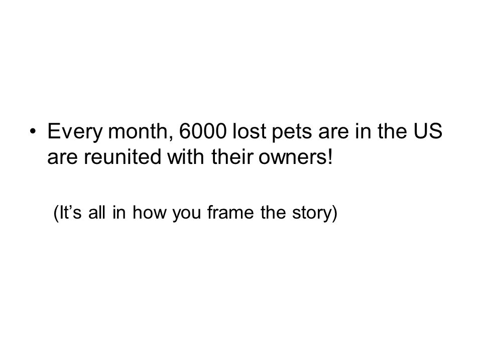 Every month, 6000 lost pets are in the US are reunited with their owners.