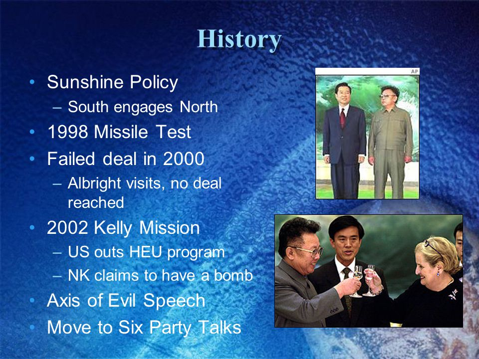 History Sunshine Policy –South engages North 1998 Missile Test Failed deal in 2000 –Albright visits, no deal reached 2002 Kelly Mission –US outs HEU program –NK claims to have a bomb Axis of Evil Speech Move to Six Party Talks