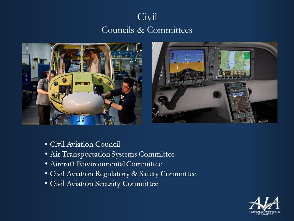 Civil Councils & Committees Civil Aviation Council Air Transportation Systems Committee Aircraft Environmental Committee Civil Aviation Regulatory & Safety Committee Civil Aviation Security Committee