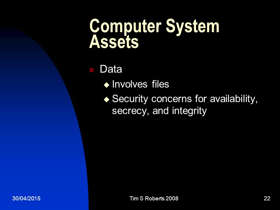 30/04/2015Tim S Roberts 200822 Computer System Assets Data  Involves files  Security concerns for availability, secrecy, and integrity