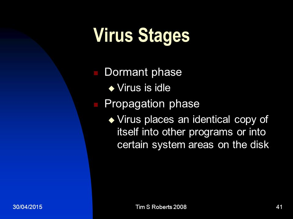 30/04/2015Tim S Roberts Virus Stages Dormant phase  Virus is idle Propagation phase  Virus places an identical copy of itself into other programs or into certain system areas on the disk