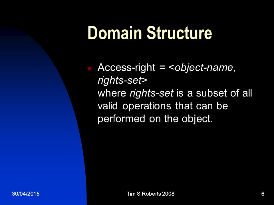 Domain Structure Access-right = where rights-set is a subset of all valid operations that can be performed on the object.
