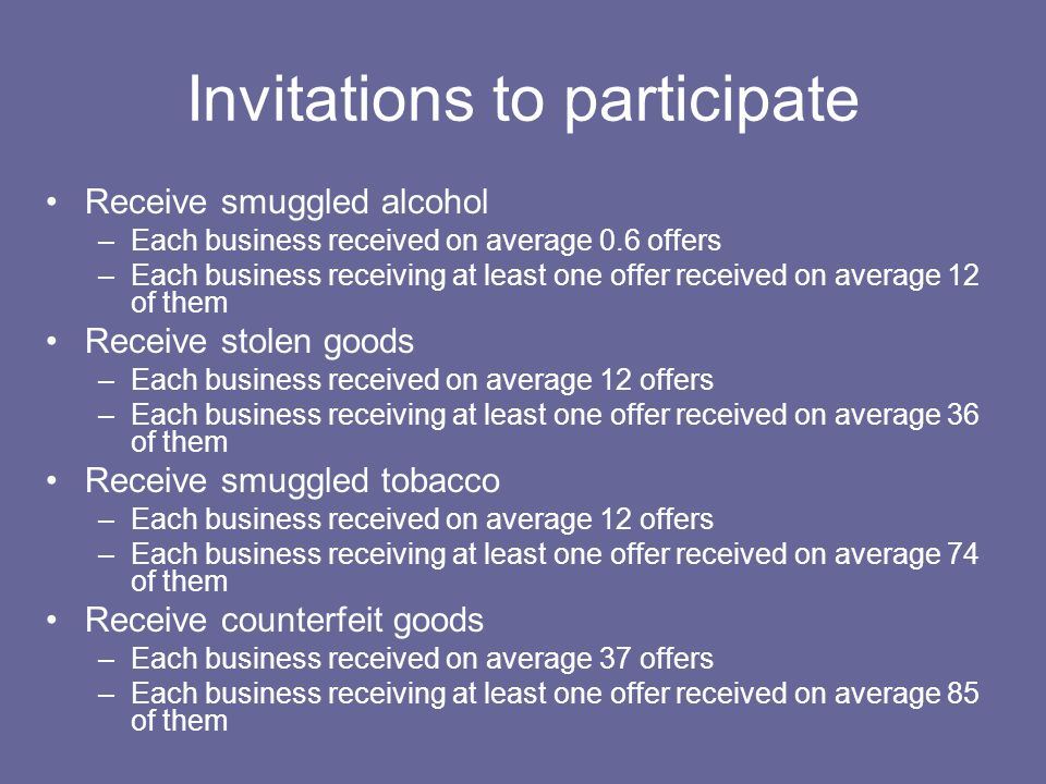 Invitations to participate Receive smuggled alcohol –Each business received on average 0.6 offers –Each business receiving at least one offer received on average 12 of them Receive stolen goods –Each business received on average 12 offers –Each business receiving at least one offer received on average 36 of them Receive smuggled tobacco –Each business received on average 12 offers –Each business receiving at least one offer received on average 74 of them Receive counterfeit goods –Each business received on average 37 offers –Each business receiving at least one offer received on average 85 of them
