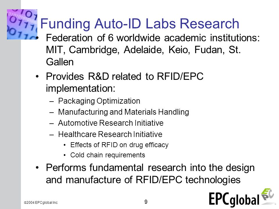 INSERT GRAPHIC SQUARE HERE 9  2004 EPCglobal Inc Funding Auto-ID Labs Research Federation of 6 worldwide academic institutions: MIT, Cambridge, Adelaide, Keio, Fudan, St.
