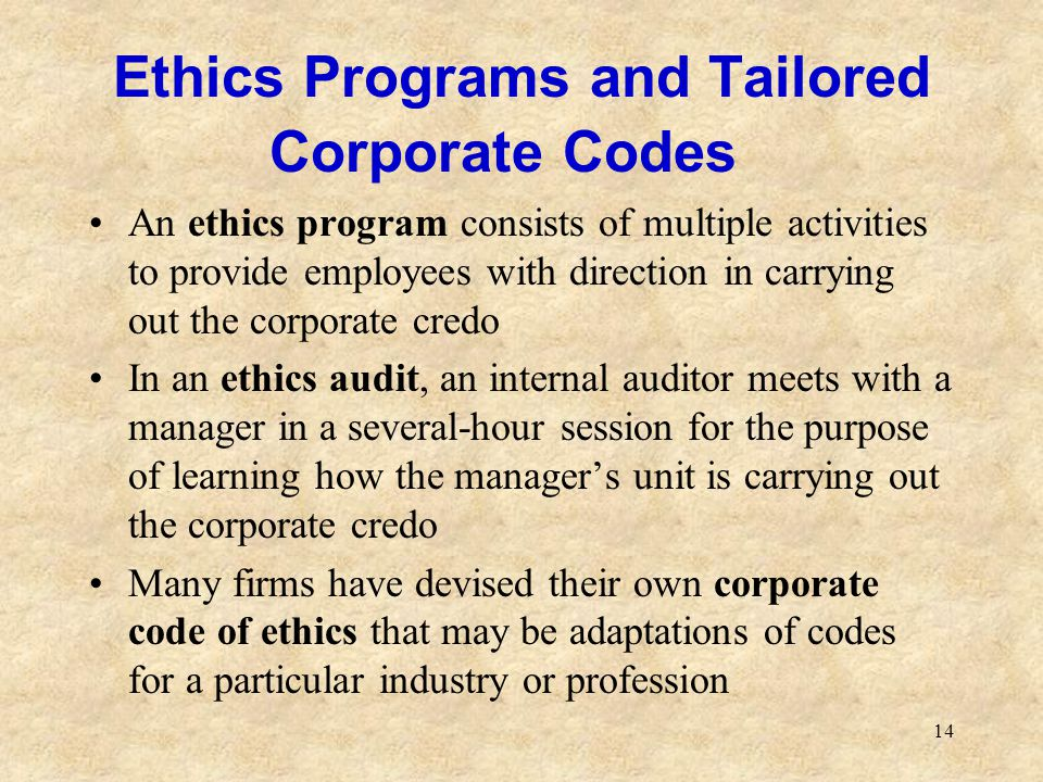 14 Ethics Programs and Tailored Corporate Codes An ethics program consists of multiple activities to provide employees with direction in carrying out
