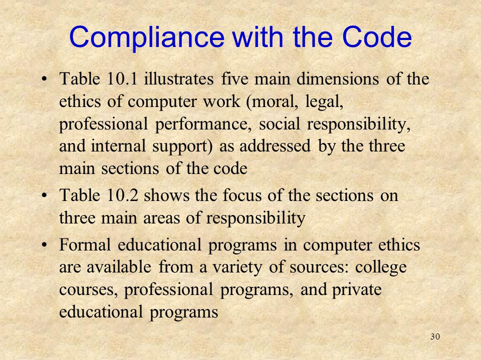 30 Compliance with the Code Table 10.1 illustrates five main dimensions of the ethics of computer work (moral, legal, professional performance, social