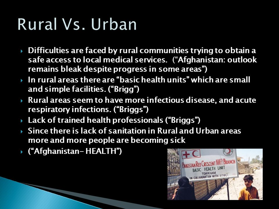  Difficulties are faced by rural communities trying to obtain a safe access to local medical services.