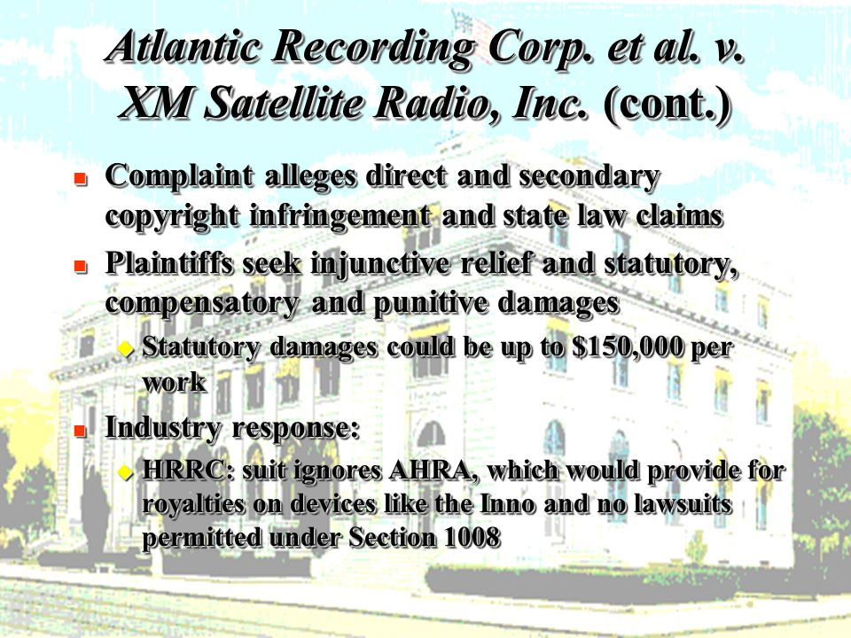 16 Atlantic Recording Corp. et al. v. XM Satellite Radio, Inc.