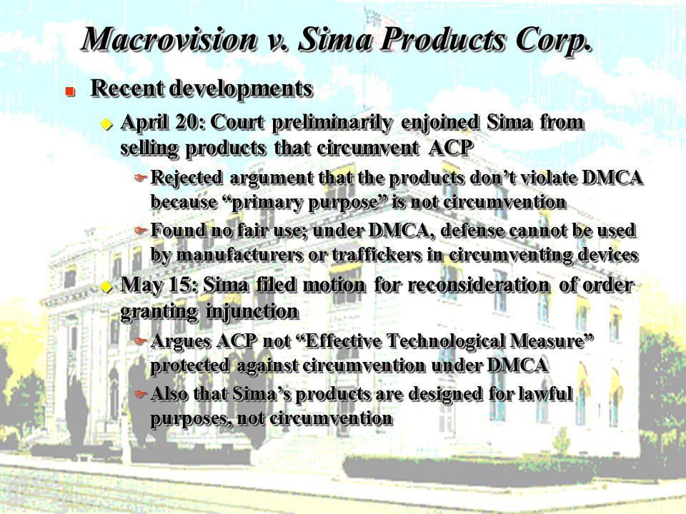18 Macrovision v. Sima Products Corp.