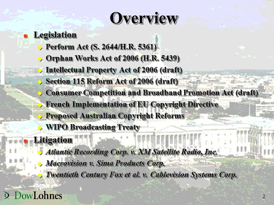 2 OverviewOverview n Legislation u Perform Act (S.