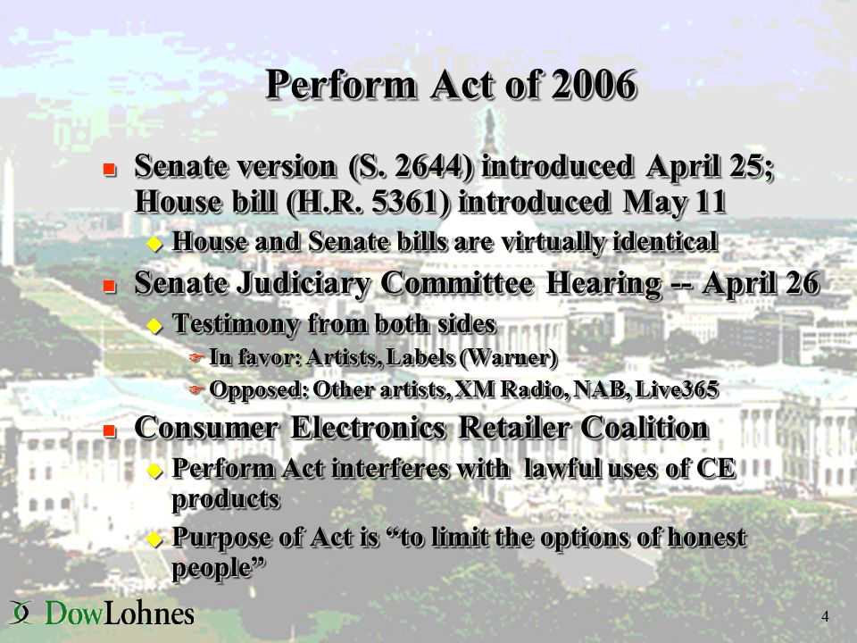 5 Perform Act of 2006 (cont.) n Satellite Radio Providers u Cannot authorize, cause, enable or induce users to make copies of satellite radio content u Must use reasonably available, technologically feasible and economically reasonable technology to prevent such copying n Reasonable Recording Exception u Recording of content permissible only if technology permits u Recording of content permissible only if technology permits F Automatic recording; or F Playback based on specific programs, time periods, or channels u Exception does not apply to devices that F Enable recording or playback based on specific songs, artists, genres or other user preferences; F Allow users to change the order of songs for playback; or F Permit users to transfer the songs to other devices, except for use over a home network n Satellite Radio Providers u Cannot authorize, cause, enable or induce users to make copies of satellite radio content u Must use reasonably available, technologically feasible and economically reasonable technology to prevent such copying n Reasonable Recording Exception u Recording of content permissible only if technology permits u Recording of content permissible only if technology permits F Automatic recording; or F Playback based on specific programs, time periods, or channels u Exception does not apply to devices that F Enable recording or playback based on specific songs, artists, genres or other user preferences; F Allow users to change the order of songs for playback; or F Permit users to transfer the songs to other devices, except for use over a home network